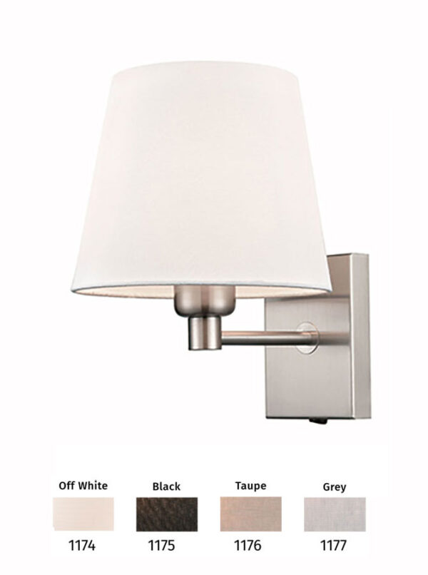 Switched Single Lamp Wall Light Satin Nickel Shade Colour Choice