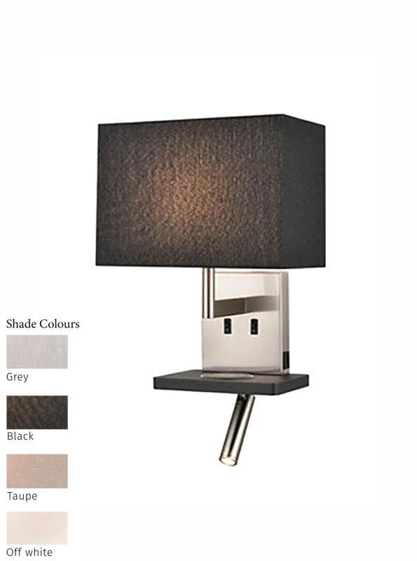 Bedside Wall Reading Light USB Port Satin Nickel / Black Shade Choice