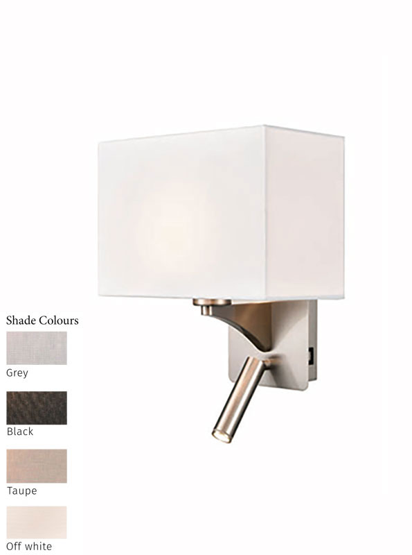 Switched Bedside Wall Reading Light USB Port Satin Nickel Shade Choice