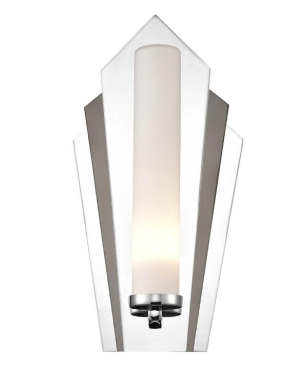 Art Deco Fan Style 1 Lamp Bathroom Wall Light Polished & Black Chrome