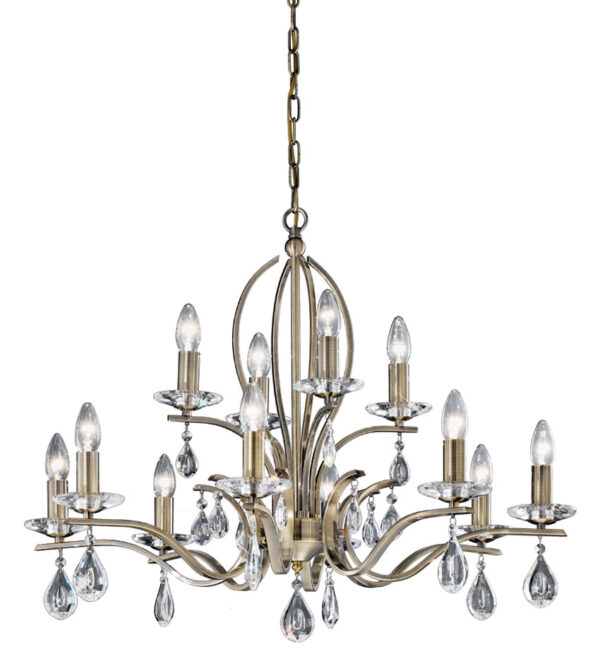 Contemporary 12 Light Chandelier Bronze Finish Crystal Drops