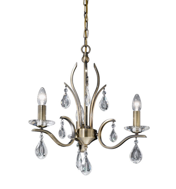 Franklite FL2299/3 Willow 3 light chandelier in bronze with crystal drops