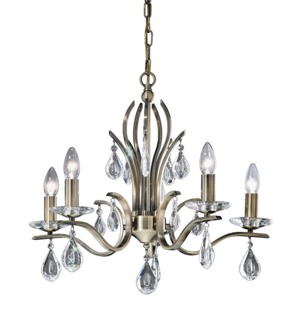 Franklite FL2299/5 Willow 5 light chandelier in bronze with crystal drops