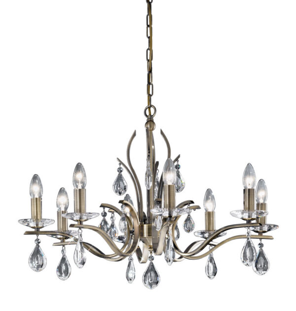 Contemporary 8 Light Chandelier Bronze Finish Crystal Drops