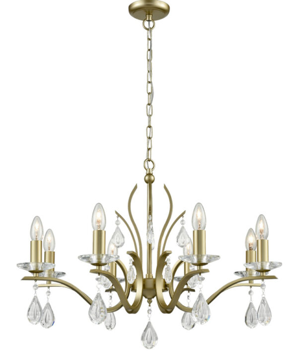 Contemporary 8 Light Chandelier Matt Gold Finish Crystal Drops