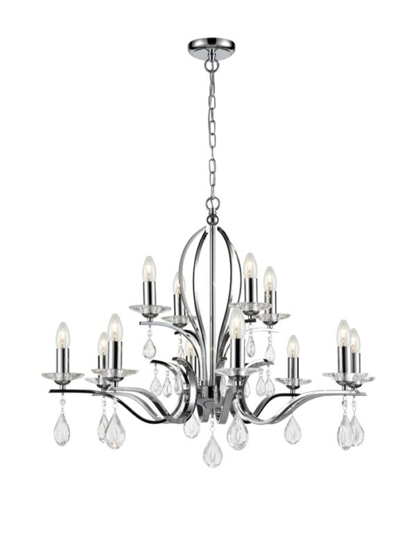 Contemporary 12 Light Chandelier Polished Chrome Crystal Drops
