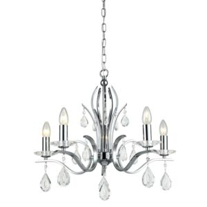 Contemporary 5 Light Chandelier Polished Chrome Crystal Drops