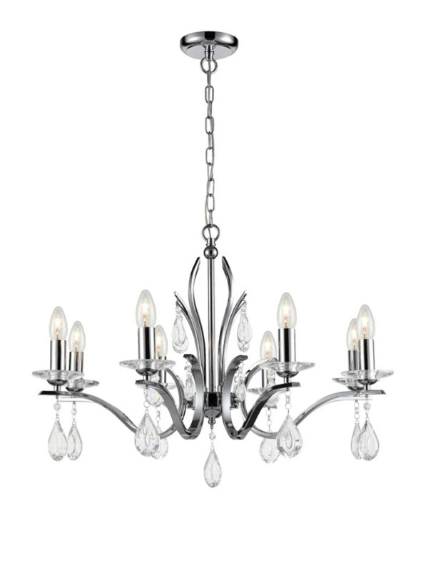 Contemporary 8 Light Chandelier Polished Chrome Crystal Drops