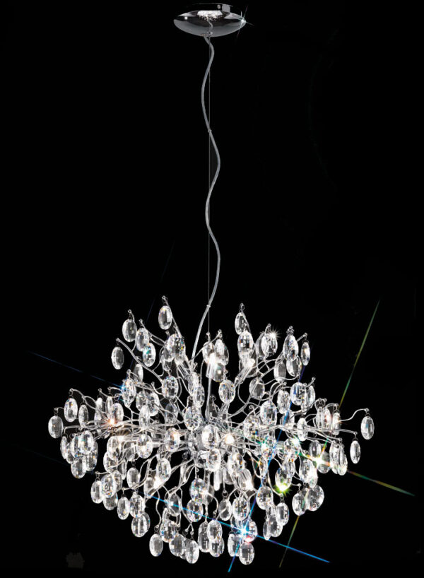 Franklite FL2326/12 Wisteria 12 lamp round crystal chandelier pendant in polished chrome