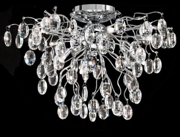 Franklite FL2326/8 Wisteria 8 lamp flush mount crystal ceiling light in polished chrome