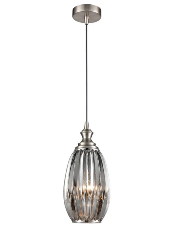 Classic 15cm Ribbed Smoked Glass 1 Light Ceiling Pendant Satin Nickel