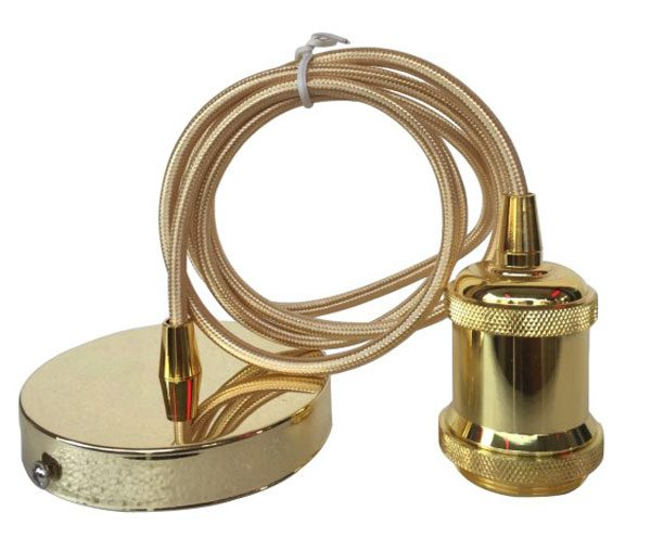 French Gold Finish Ceiling Pendant Cable Set E27 Shade Ring