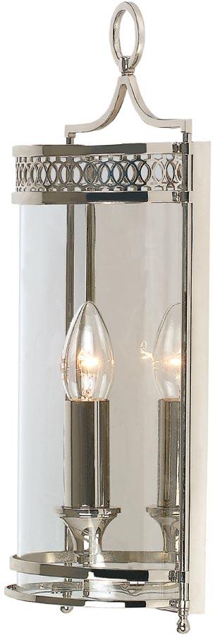 Elstead Guildhall Polished Nickel Flush Georgian Wall Lantern