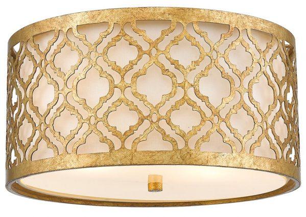 Gilded Nola Arabella 2 Light Flush Mount Ceiling Light Distressed Gold