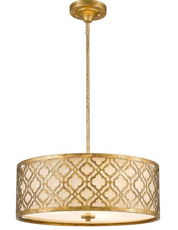 Gilded Nola Arabella 3 Light Duo Mount Large Pendant Distressed Gold