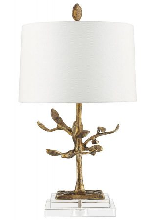 Gilded Nola Audubon Park 1 Light Table Lamp Distressed Gold Crystal