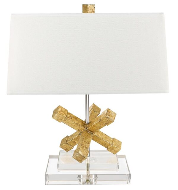 Gilded Nola Jackson Square 1 Light Table Lamp Distressed Gold Crystal