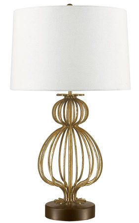 Gilded Nola Lafitte 1 Light Table Lamp Distressed Gold Cream Shade
