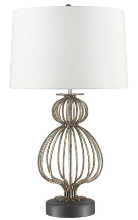 Gilded Nola Lafitte 1 Light Table Lamp Distressed Silver White Shade