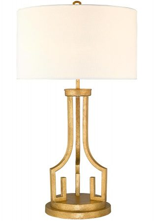 Gilded Nola Lemuria 1 Light Table Lamp Distressed Gold Ivory Shade