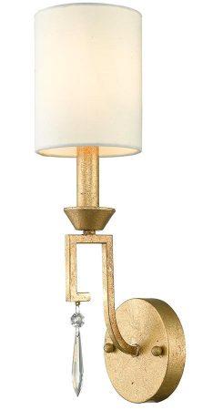 Gilded Nola Lemuria 1 Lamp Wall Light Distressed Gold Ivory Shade