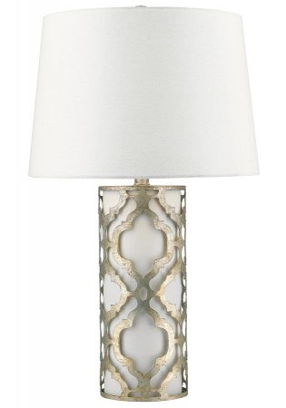 Gilded Nola Arabella 1 Light Table Lamp Distressed Silver Cream Shade