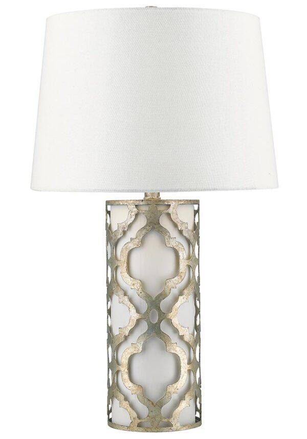 Gilded Nola Arabella 1 Light Table Lamp Distressed Silver Cream Shade