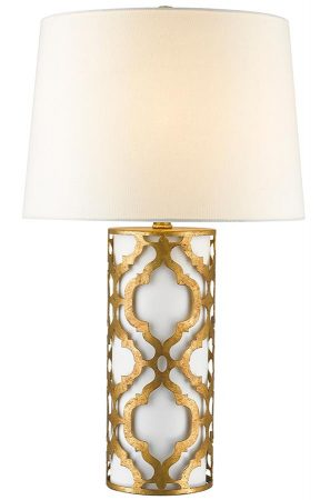Gilded Nola Arabella 1 Light Table Lamp Distressed Gold Cream Shade