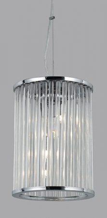 Chrome 4 Light Glass Rod Hanging Hall Lantern