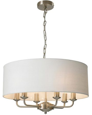 Grantham 6 Arm Candelabra Pendant Ceiling Light Satin Nickel