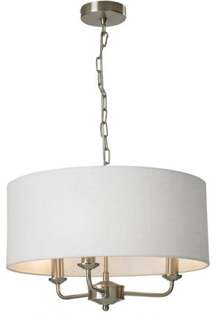 Grantham 3 Arm Candelabra Pendant Ceiling Light Satin Nickel