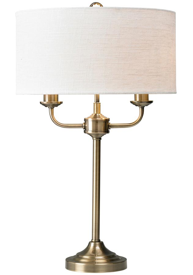 Grantham 2 arm candelabra table lamp antique brass white shade for Table lamp with 2 arms