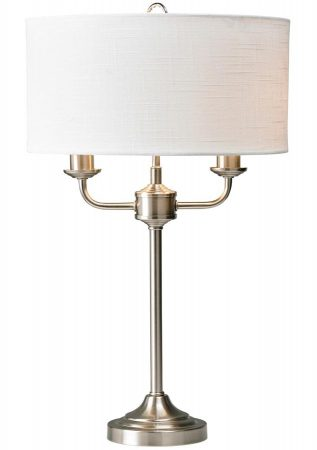 Grantham 2 Arm Candelabra Table Lamp Satin Nickel White Shade