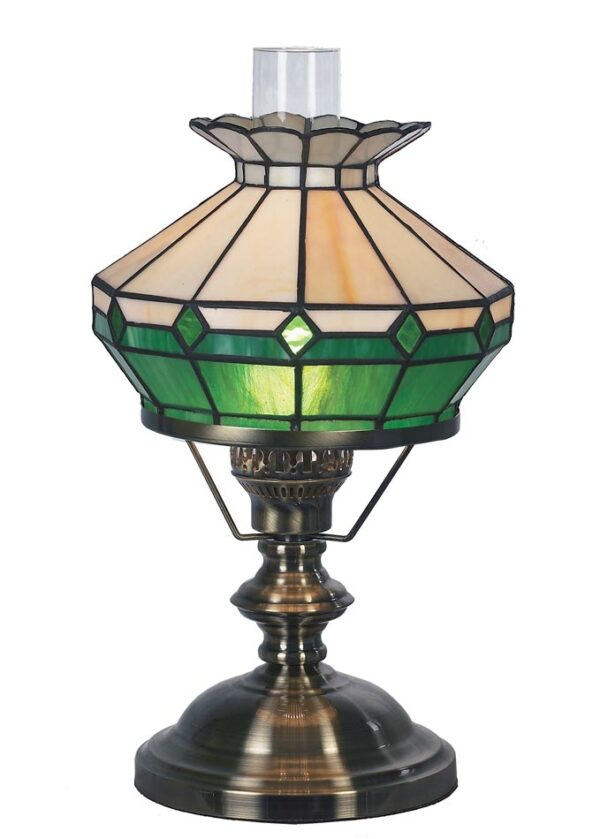 Green & Beige Tiffany Glass Imitation Table Oil Lamp Antique Brass