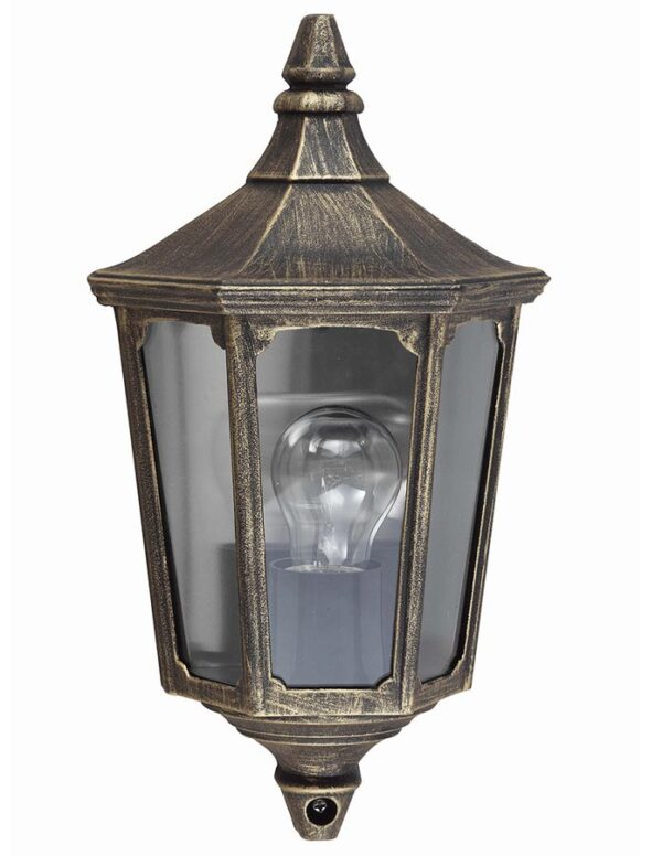 Cricklade 1 light outdoor wall half lantern black and gold
