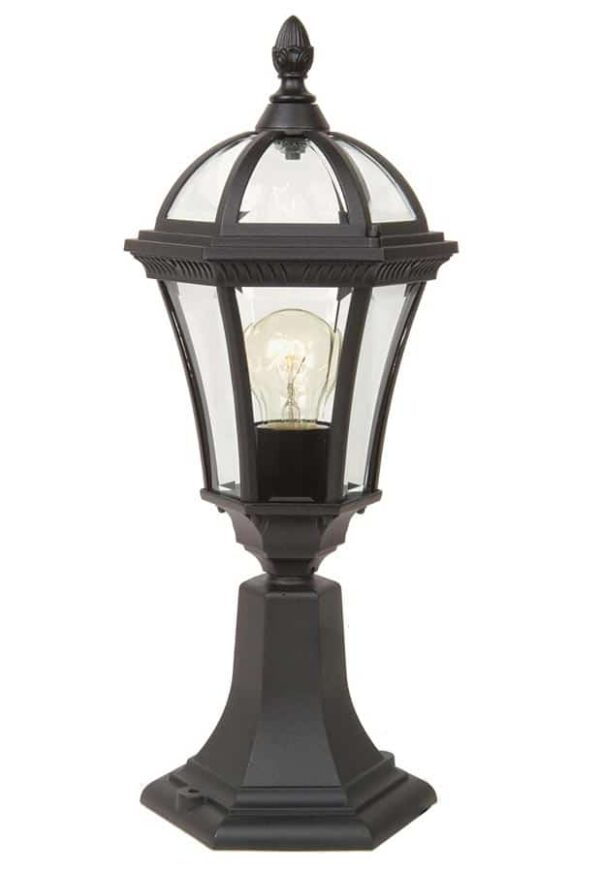 Ledbury 1 light traditional outdoor pedestal lantern black