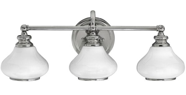 Hinkley Ainsley 3 Light Polished Chrome Bathroom Wall Light Opal Glass Shades