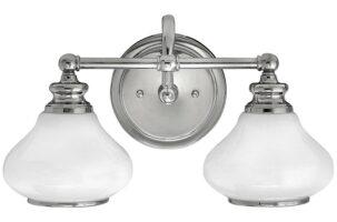 Hinkley Ainsley 2 Light Polished Chrome Bathroom Wall Light Opal Glass Shades