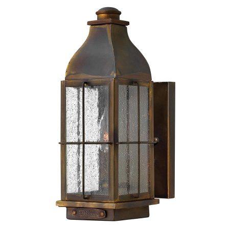 Hinkley Bingham 1 Light Small Solid Brass Outdoor Wall Lantern Sienna