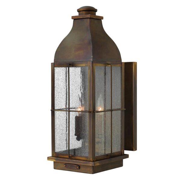 Hinkley Bingham 3 Light Large Solid Brass Outdoor Wall Lantern Sienna