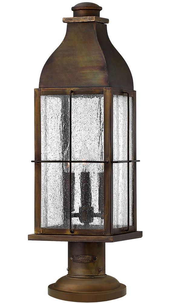 Hinkley Bingham 3 Light Solid Brass Outdoor Pedestal Lantern Sienna