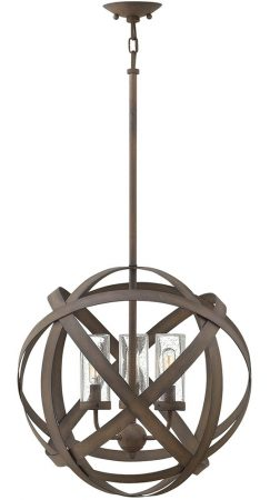 Hinkley Carson 3 Light Outdoor Porch Globe Chandelier Vintage Iron