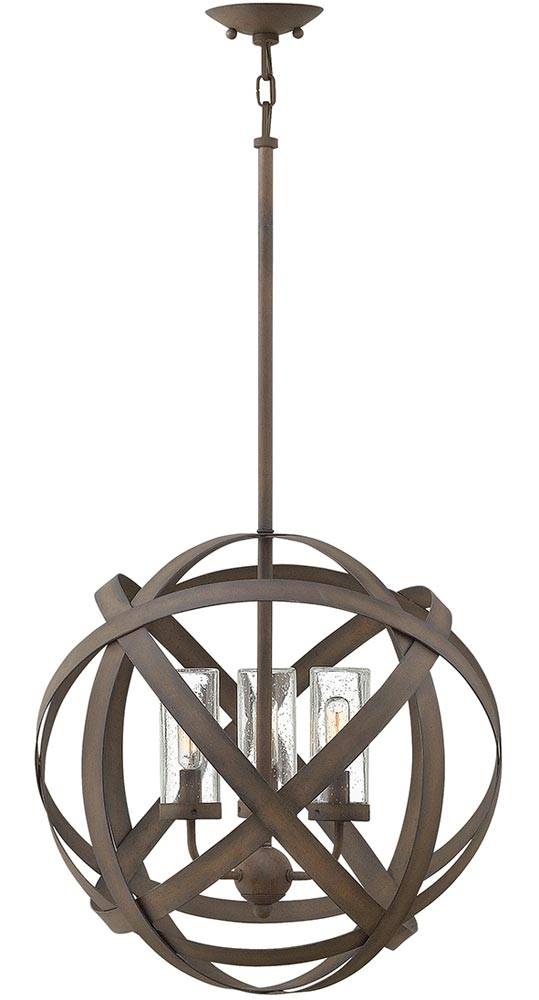 Hinkley Carson 3 Light Outdoor Porch Globe Chandelier