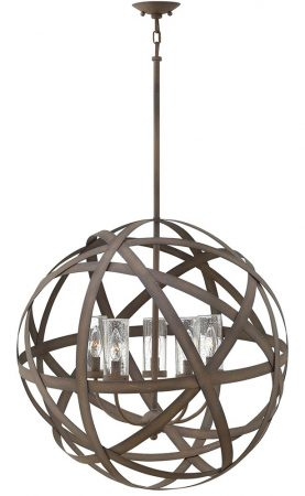 Hinkley Carson 5 Light Outdoor Porch Globe Chandelier Vintage Iron