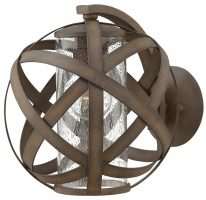 Hinkley Carson 1 Light Outdoor Wall Light Vintage Iron Seeded Glass