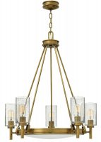 Hinkley Collier 5 Light Chandelier Seeded Glass Shades Heritage Brass