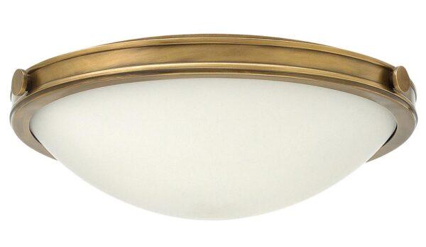 Hinkley Collier 3 Light Flush Mount Ceiling Light Opal Glass Heritage Brass