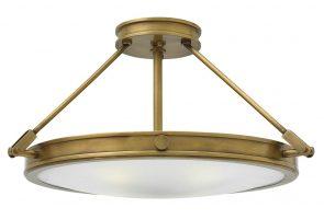 Hinkley Collier 4 Light Semi Flush Ceiling Light Opal Glass Heritage Brass