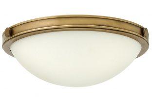 Hinkley Collier 2 Light Flush Mount Ceiling Light Opal Glass Heritage Brass