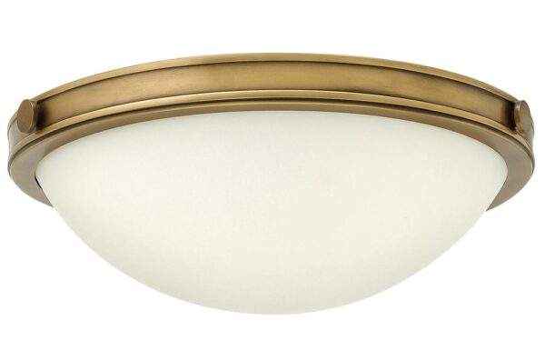 Hinkley Collier 2 Light Flush Mount Ceiling Light Opal Glass Heritage Brass